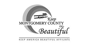 Greyscale logo for Keep Montgomery County Beautiful