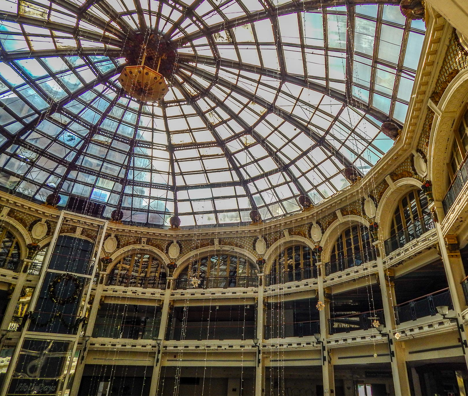 Glass dome in the rotunda of the Dayton Arcade