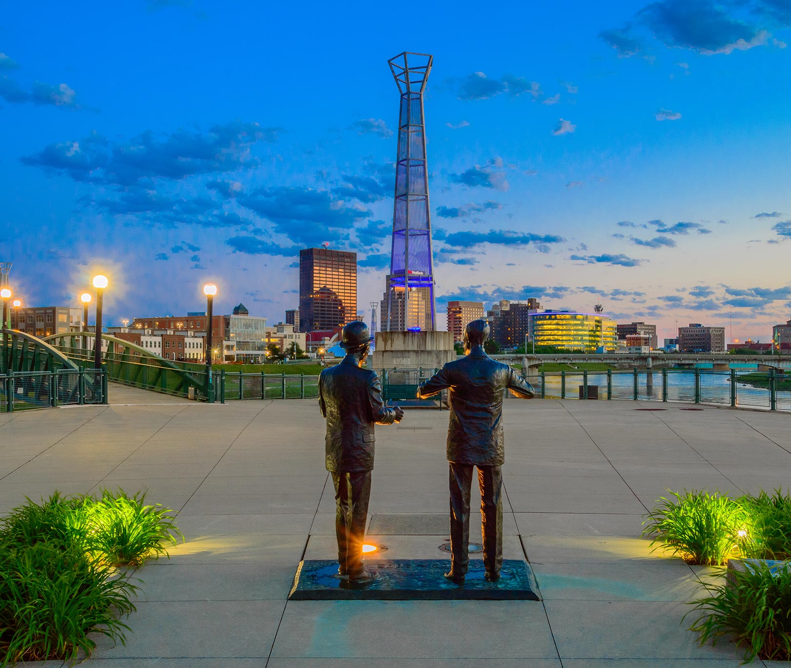 Statues of Orville and Wilbur Wright overlook downtown Dayton from Deeds Point
